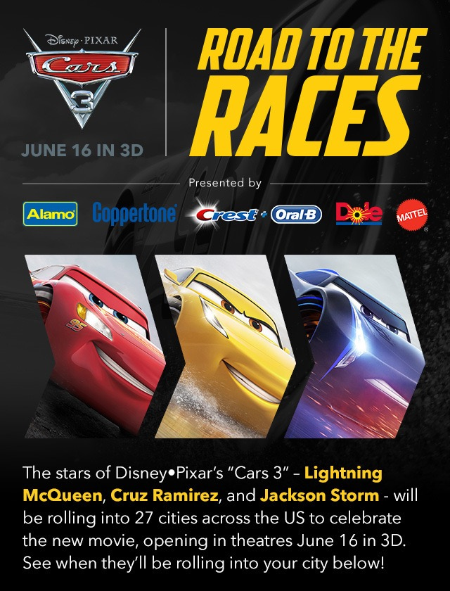 "DISNEY PIXAR'S ""CARS 3"" FUELS UP FOR NATIONWIDE TOUR – (Dallas / Fort Worth area April 7-9, 2017)!"