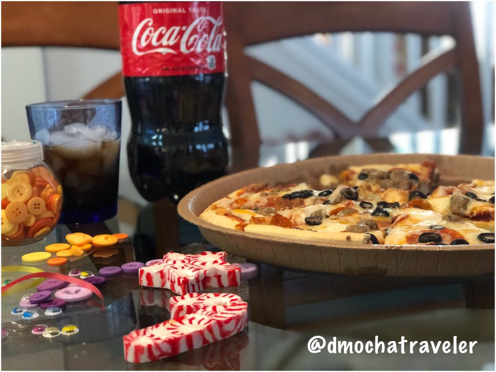 Holiday Family Time In Effect with WinCo Pizza and Coca-Cola. Peppermint Ornaments Anyone?